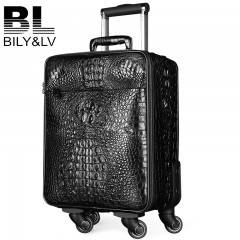 Bily&lv拉杆箱子鳄鱼皮真皮欧美时尚密码拉杆箱18寸万向轮青年男
